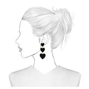 BaubleBar | Black Hearts Cascade Drop Earrings